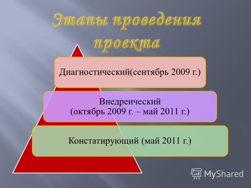 Диагностический(сентябрь 2009 г.) Внедренческий (октябрь 2009 г. – май 2011 г.) Констатирующий (май 2011 г.)