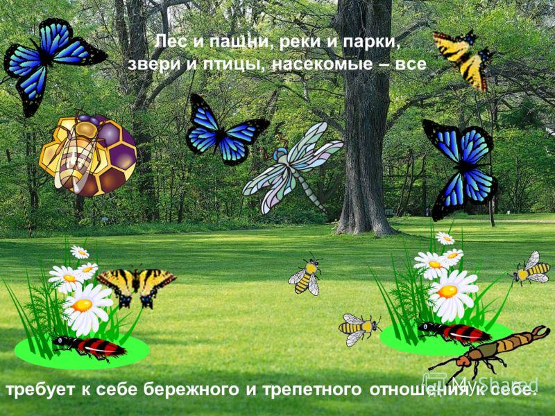 Лес и пашни, реки и парки, звери и птицы, насекомые – все требует к себе бережного и трепетного отношения к себе.