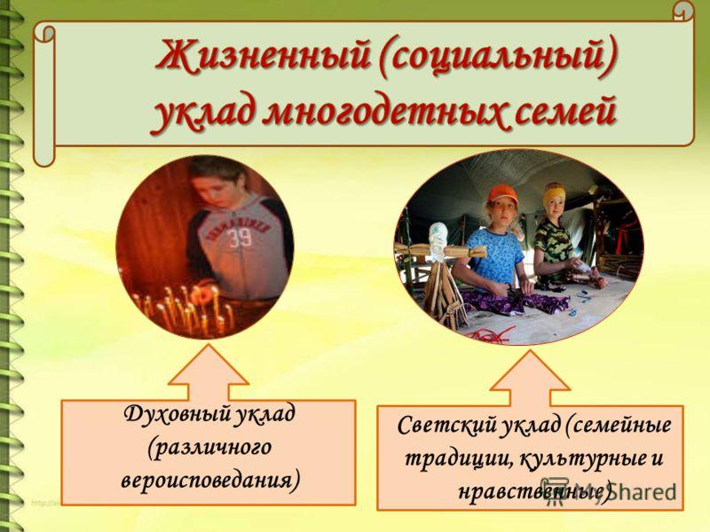 Духовный уклад (различного вероисповедания) Светский уклад (семейные традиции, культурные и нравственные)