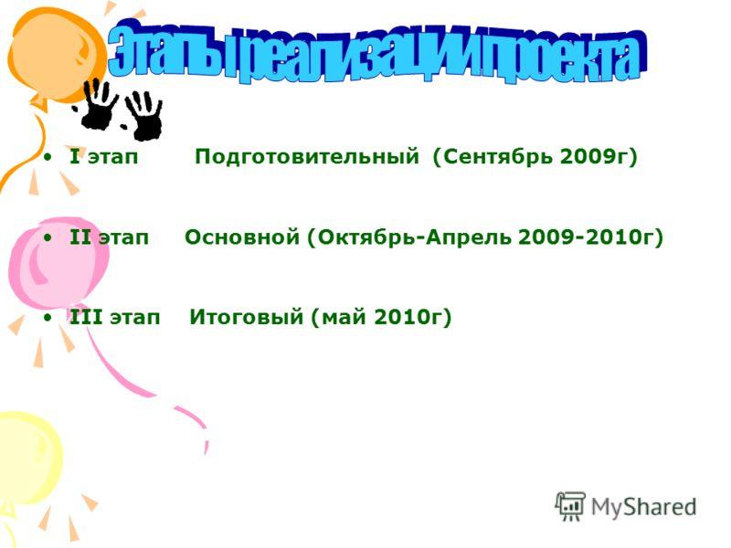 I этап Подготовительный (Сентябрь 2009г) II этап Основной (Октябрь-Апрель 2009-2010г) III этап Итоговый (май 2010г)