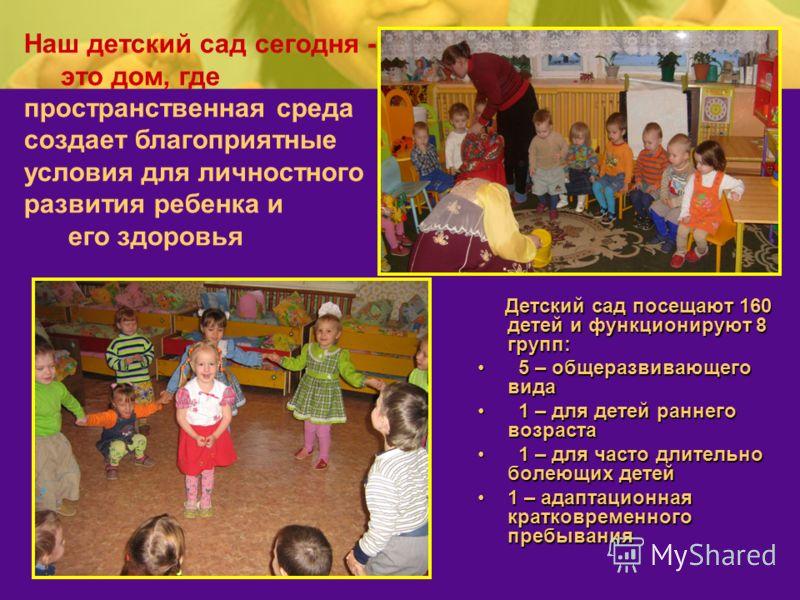 Наш детский сад сегодня - это дом, где пространственная среда создает благоприятные условия для личностного развития ребенка и его здоровья Детский сад посещают 160 детей и функционируют 8 групп: Детский сад посещают 160 детей и функционируют 8 групп