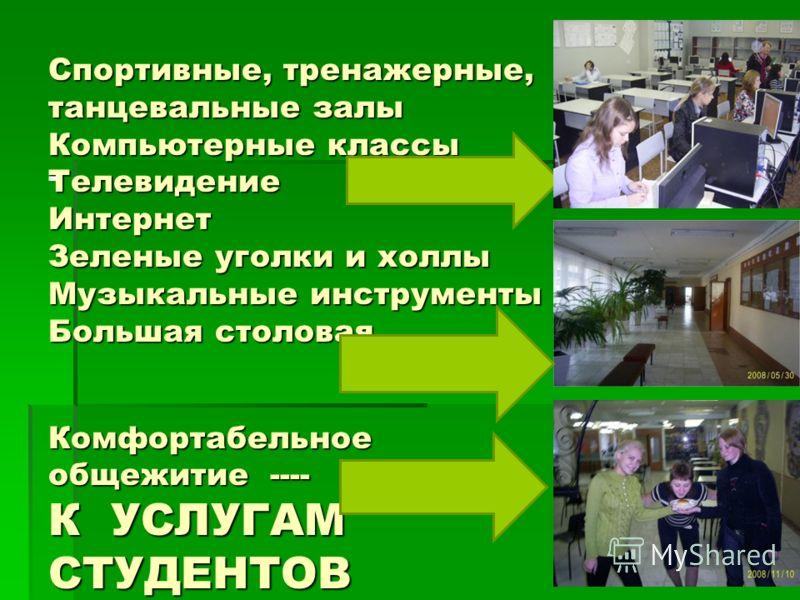 Спортивные, тренажерные, танцевальные залы Компьютерные классы Телевидение Интернет Зеленые уголки и холлы Музыкальные инструменты Большая столовая Комфортабельное общежитие ---- К УСЛУГАМ СТУДЕНТОВ -