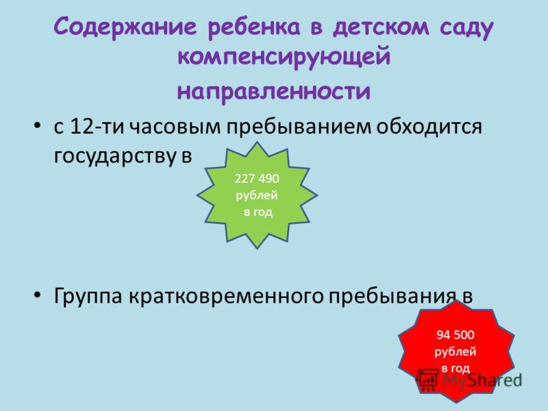 Содержание ребенка в детском саду компенсирующей направленности с 12-ти часовым пребыванием обходится государству в Группа кратковременного пребывания в 227 490 рублей в год 94 500 рублей в год