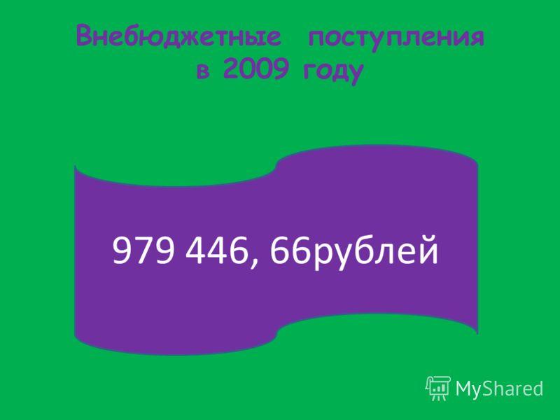 Внебюджетные поступления в 2009 году 979 446, 66рублей