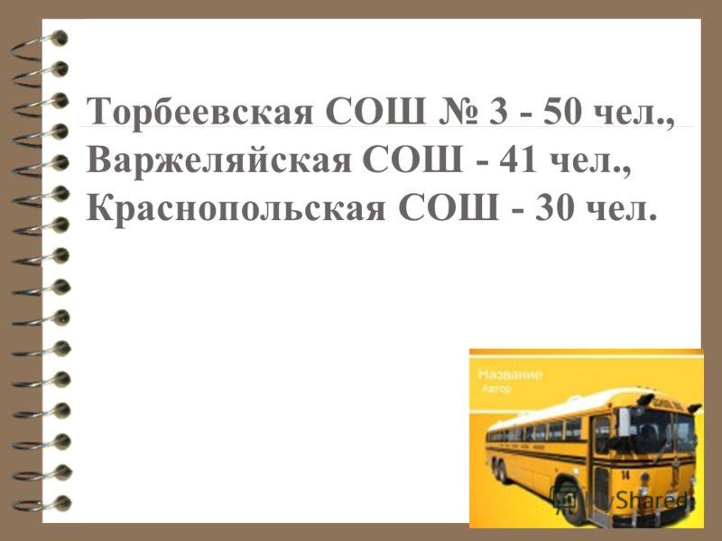Торбеевская СОШ 3 - 50 чел., Варжеляйская СОШ - 41 чел., Краснопольская СОШ - 30 чел.