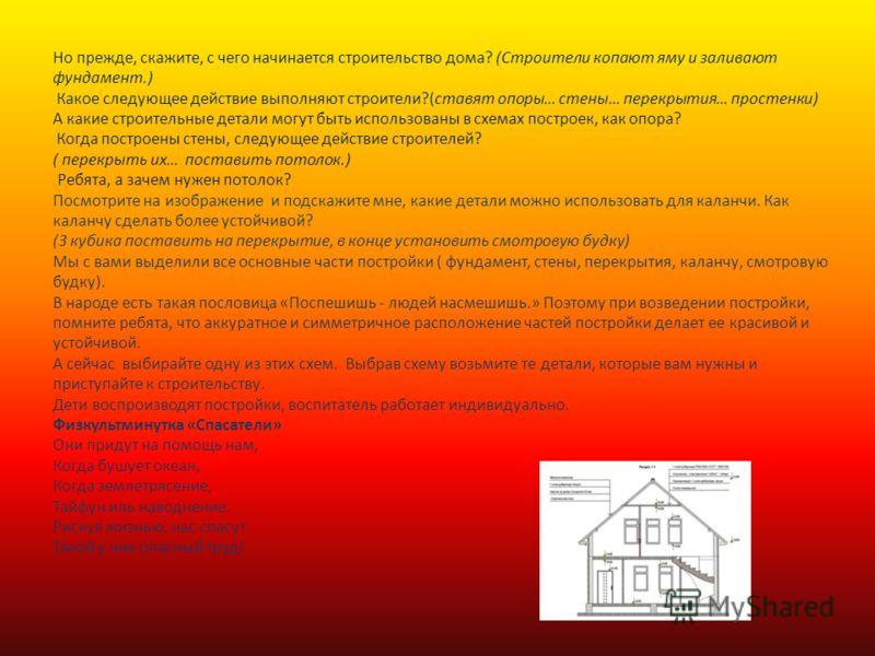 Но прежде, скажите, с чего начинается строительство дома? (Строители копают яму и заливают фундамент.) Какое следующее действие выполняют строители?(ставят опоры… стены… перекрытия… простенки) А какие строительные детали могут быть использованы в схе
