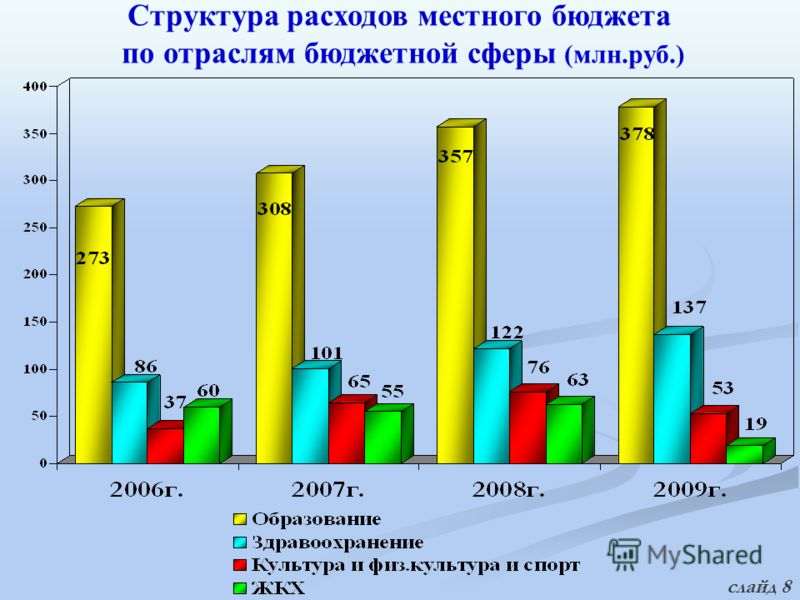 Структура расходов местного бюджета по отраслям бюджетной сферы (млн.руб.) слайд 8
