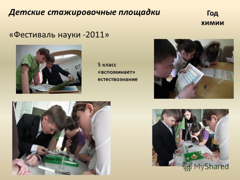 Детские стажировочные площадки «Фестиваль науки -2011» Год химии 5 класс «вспоминает» естествознание