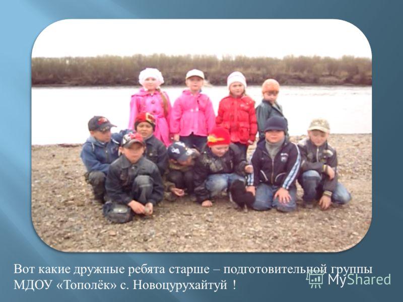 Вот какие дружные ребята старше – подготовительной группы МДОУ « Тополёк » с. Новоцурухайтуй !