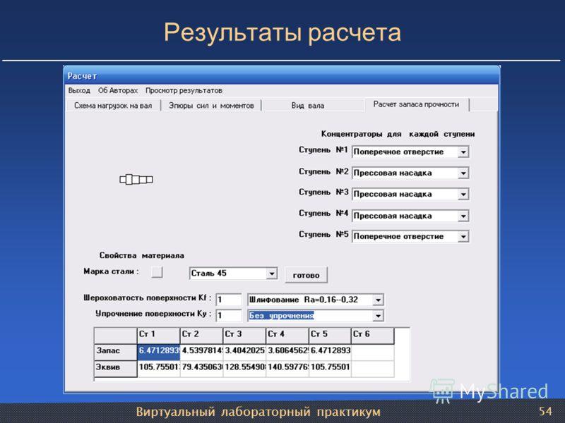 Виртуальный лабораторный практикум 54 Результаты расчета