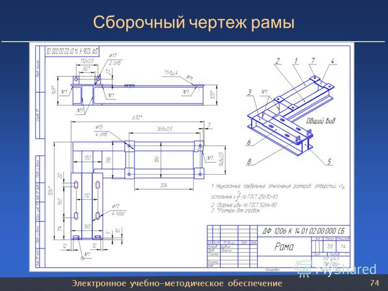 Электронное учебно-методическое обеспечение 74 Сборочный чертеж рамы