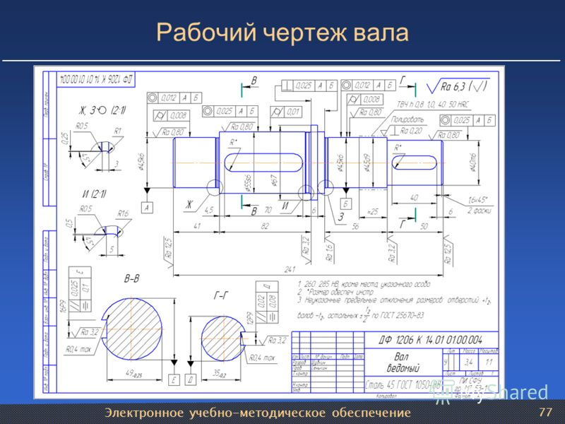 Электронное учебно-методическое обеспечение 77 Рабочий чертеж вала