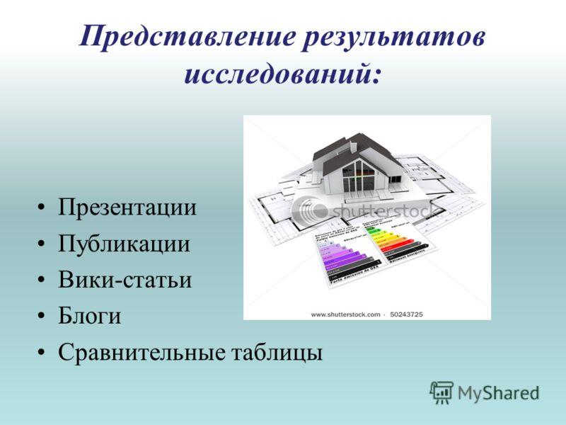 Представление результатов исследований: Презентации Публикации Вики-статьи Блоги Сравнительные таблицы