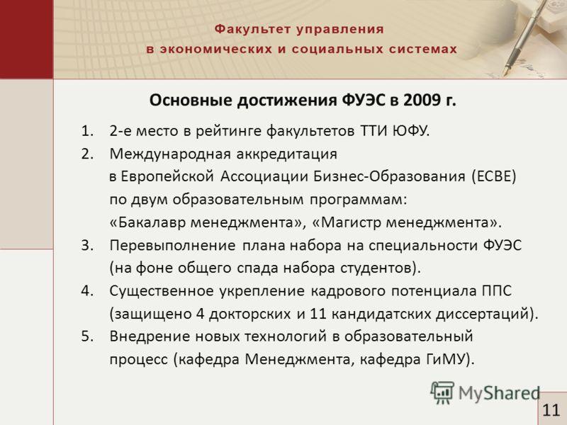 Основные достижения ФУЭС в 2009 г. 11 1.2-е место в рейтинге факультетов ТТИ ЮФУ. 2.Международная аккредитация в Европейской Ассоциации Бизнес-Образования (ЕСВЕ) по двум образовательным программам: «Бакалавр менеджмента», «Магистр менеджмента». 3.Пер