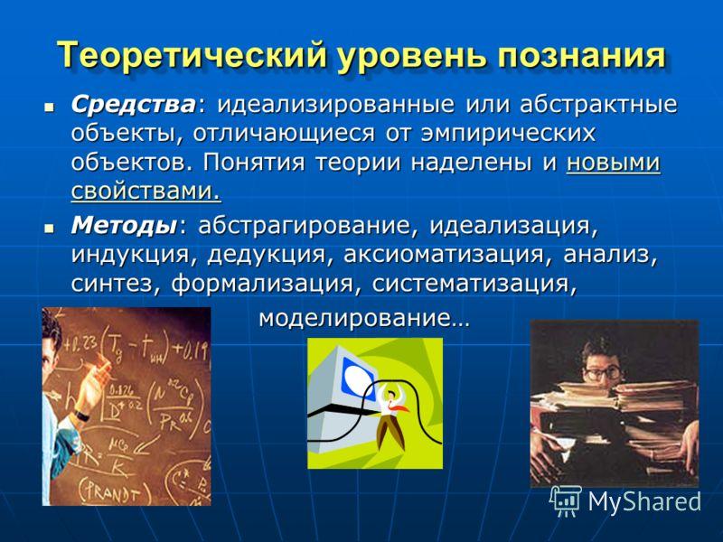 Теоретический уровень познания Средства: идеализированные или абстрактные объекты, отличающиеся от эмпирических объектов. Понятия теории наделены и новыми свойствами. Средства: идеализированные или абстрактные объекты, отличающиеся от эмпирических об