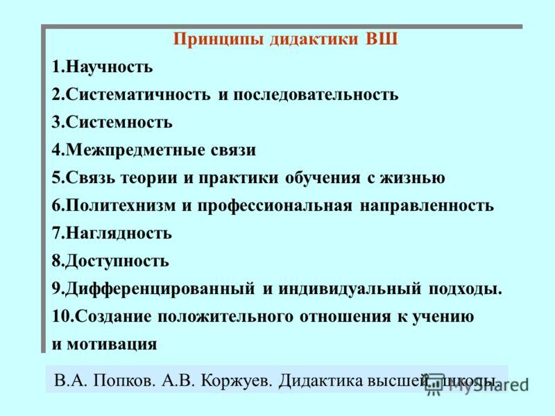 Принципы дидактики ВШ 1.Научность 2.Систематичность и последовательность 3.Системность 4.Межпредметные связи 5.Связь теории и практики обучения с жизнью 6.Политехнизм и профессиональная направленность 7.Наглядность 8.Доступность 9.Дифференцированный