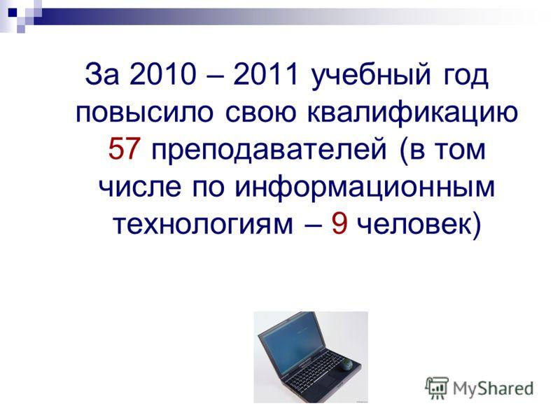 За 2010 – 2011 учебный год повысило свою квалификацию 57 преподавателей (в том числе по информационным технологиям – 9 человек)