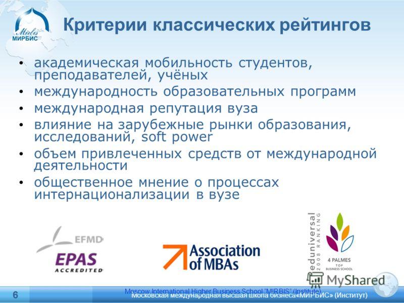Московская международная высшая школа бизнеса«МИРБИС» (Институт) 6 6 Критерии классических рейтингов академическая мобильность студентов, преподавателей, учёных международность образовательных программ международная репутация вуза влияние на зарубежн