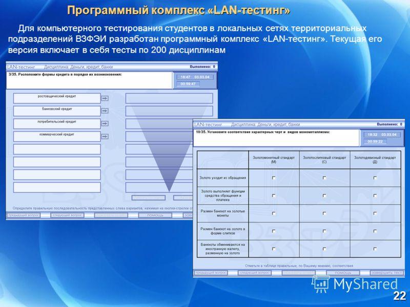 22 Для компьютерного тестирования студентов в локальных сетях территориальных подразделений ВЗФЭИ разработан программный комплекс «LAN-тестинг». Текущая его версия включает в себя тесты по 200 дисциплинам. Программный комплекс «LAN-тестинг»