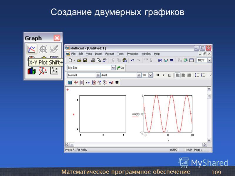 Математическое программное обеспечение 109 Создание двумерных графиков