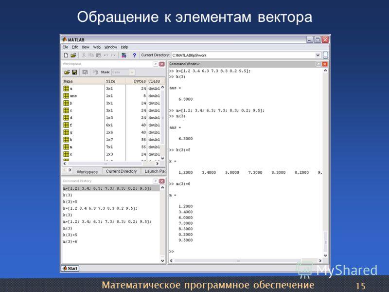 Математическое программное обеспечение 15 Обращение к элементам вектора