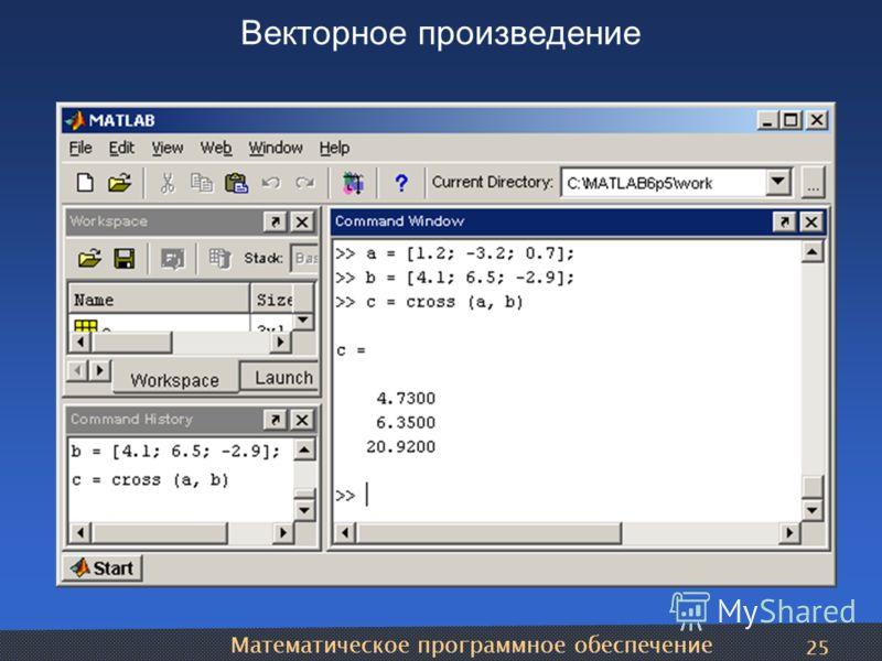 Математическое программное обеспечение 25 Векторное произведение