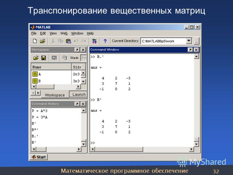 Математическое программное обеспечение 32 Транспонирование вещественных матриц