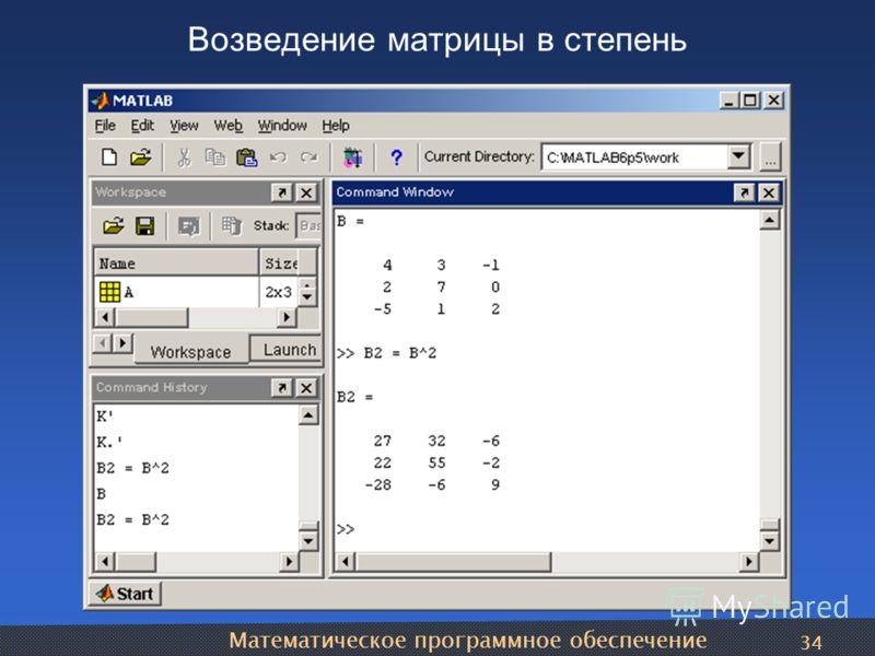 Математическое программное обеспечение 34 Возведение матрицы в степень