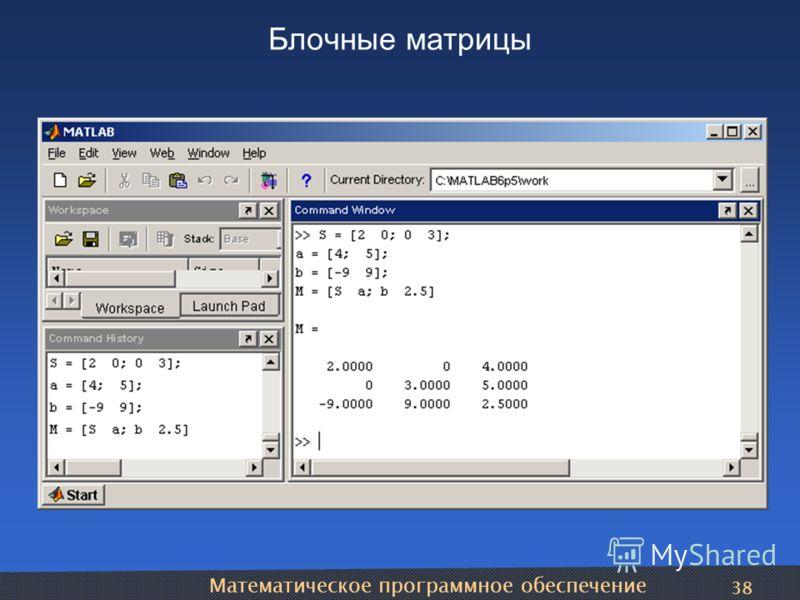 Математическое программное обеспечение 38 Блочные матрицы