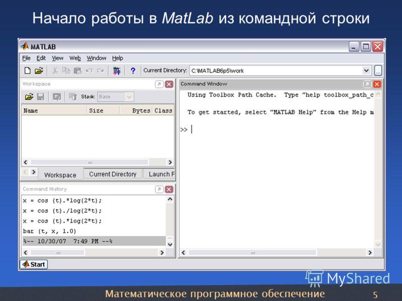 Математическое программное обеспечение 5 Начало работы в MatLab из командной строки