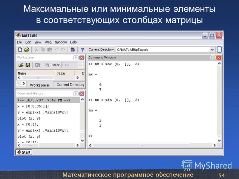 Математическое программное обеспечение 54 Максимальные или минимальные элементы в соответствующих столбцах матрицы