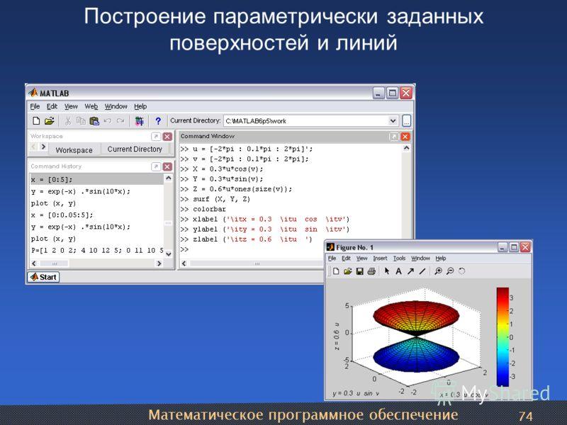 Математическое программное обеспечение 74 Построение параметрически заданных поверхностей и линий