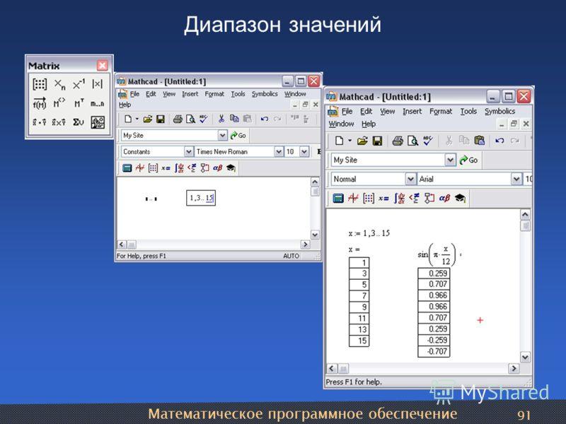 Математическое программное обеспечение 91 Диапазон значений