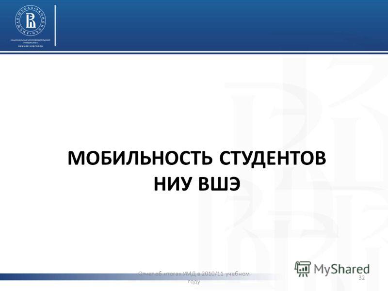 МОБИЛЬНОСТЬ СТУДЕНТОВ НИУ ВШЭ Отчет об итогах УМД в 2010/11 учебном году 32