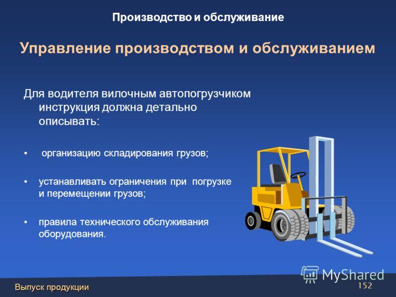 Выпуск продукции 152 Для водителя вилочным автопогрузчиком инструкция должна детально описывать: организацию складирования грузов; устанавливать ограничения при погрузке и перемещении грузов; правила технического обслуживания оборудования. Производст