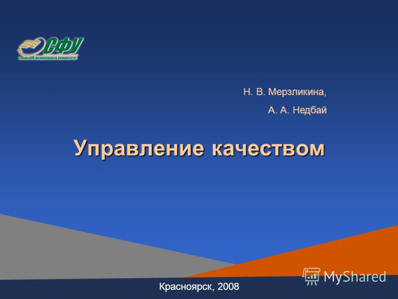 Управление качеством Красноярск, 2008 Н. В. Мерзликина, А. А. Недбай