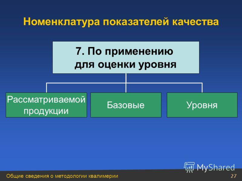 Общие сведения о методологии квалимерии 27 Номенклатура показателей качества 7. По применению для оценки уровня Рассматриваемой продукции БазовыеУровня