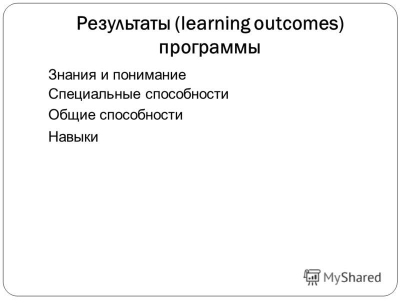 Результаты (learning outcomes) программы Знания и понимание Специальные способности Общие способности Навыки