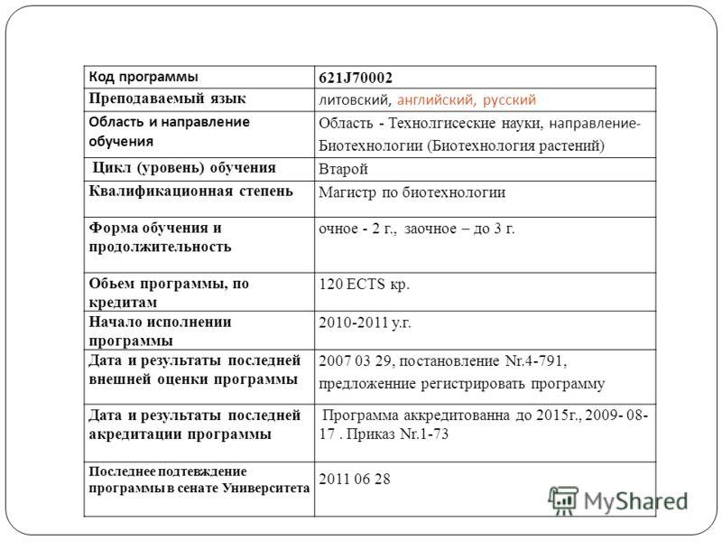Код программы 621J70002 Преподаваемый язык литовский, английский, русский Область и направление обучения Область - Технолгисеские науки, направление- Биотехнологии (Биотехнология растений) Цикл (уровень) обучения Втарой Квалификационная степень Магис