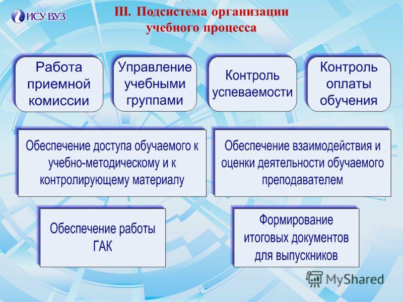 III. Подсистема организации учебного процесса