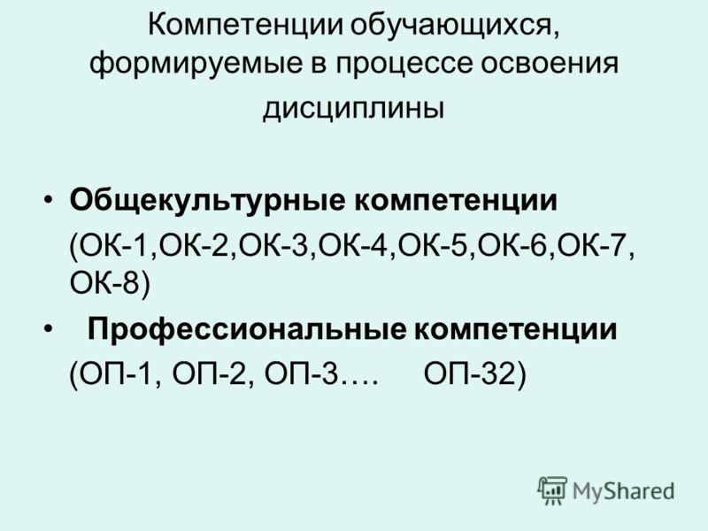Компетенции обучающихся, формируемые в процессе освоения дисциплины Общекультурные компетенции (ОК-1,ОК-2,ОК-3,ОК-4,ОК-5,ОК-6,ОК-7, ОК-8) Профессиональные компетенции (ОП-1, ОП-2, ОП-3…. ОП-32)