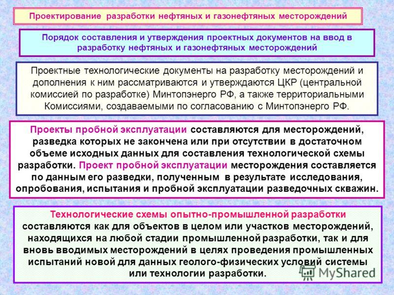Проектные технологические документы на разработку месторождений и дополнения к ним рассматриваются и утверждаются ЦКР (центральной комиссией по разработке) Минтопэнерго РФ, а также территориальными Комиссиями, создаваемыми по согласованию с Минтопэне