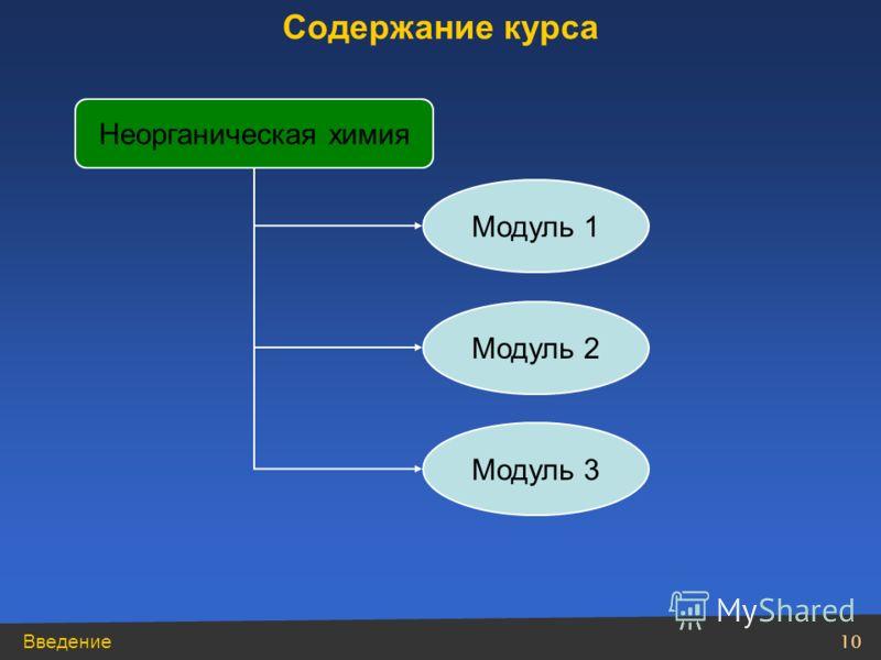 Введение 10 Неорганическая химия Содержание курса Модуль 1 Модуль 2 Модуль 3