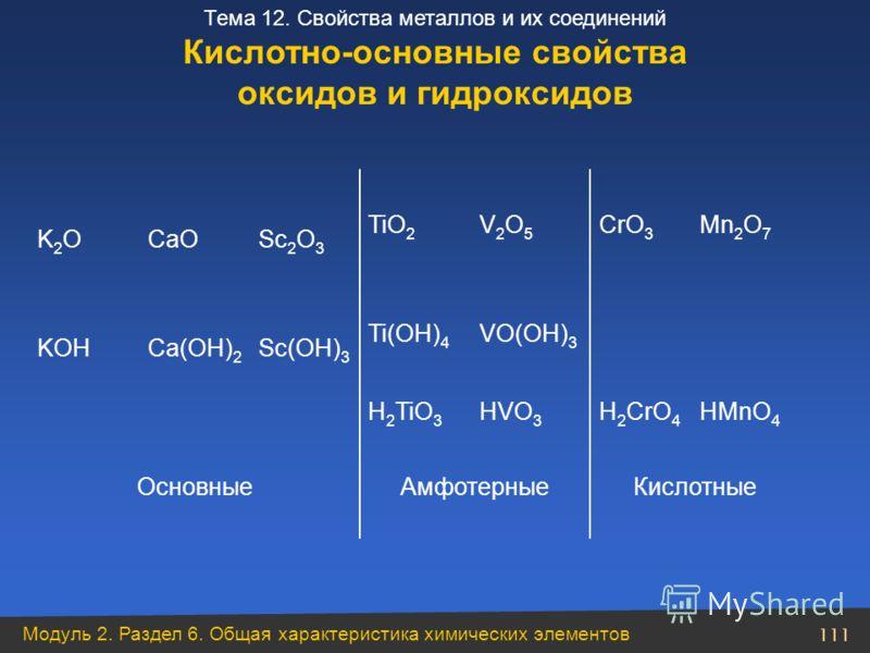 Модуль 2. Раздел 6. Общая характеристика химических элементов 111 Тема 12. Свойства металлов и их соединений КислотныеАмфотерныеОсновные HMnO 4 H 2 CrO 4 HVO 3 H 2 TiO 3 VO(ОH) 3 Ti(OH) 4 Sc(OH) 3 Ca(OH) 2 KOH Mn 2 O 7 CrO 3 V2O5V2O5 TiO 2 Sc 2 O 3 C