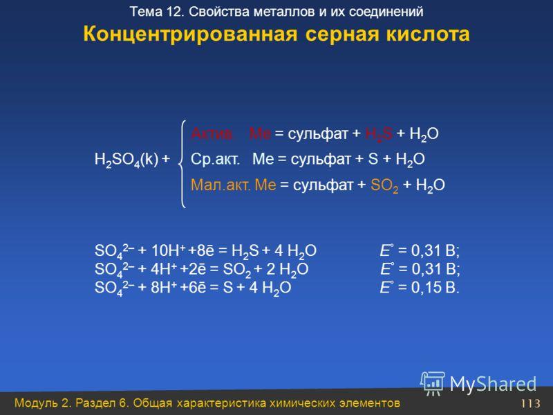 Модуль 2. Раздел 6. Общая характеристика химических элементов 113 Тема 12. Свойства металлов и их соединений Актив. Ме = сульфат + H 2 S + H 2 O H 2 SO 4 (k) + Ср.акт. Ме = сульфат + S + H 2 O Мал.акт. Ме = сульфат + SO 2 + H 2 O SO 4 2– + 10H + +8ē