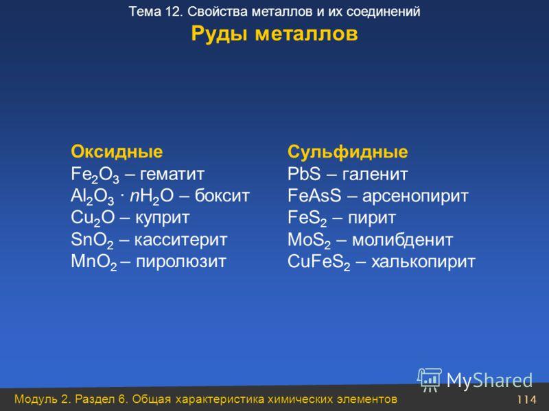 Модуль 2. Раздел 6. Общая характеристика химических элементов 114 Тема 12. Свойства металлов и их соединений Руды металлов Оксидные Fe 2 O 3 – гематит Al 2 O 3 · nH 2 O – боксит Cu 2 O – куприт SnO 2 – касситерит MnO 2 – пиролюзит Сульфидные PbS – гa