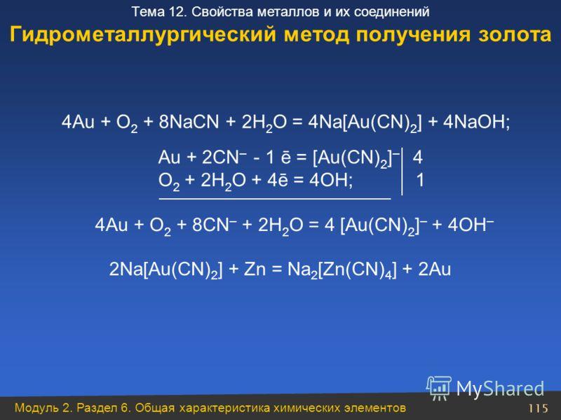 Модуль 2. Раздел 6. Общая характеристика химических элементов 115 Тема 12. Свойства металлов и их соединений 4Au + O 2 + 8CN – + 2H 2 O = 4 [Au(CN) 2 ] – + 4OH – Au + 2CN – - 1 ē = [Au(CN) 2 ] – 4 O 2 + 2H 2 O + 4ē = 4OH; 1 Гидрометаллургический мето