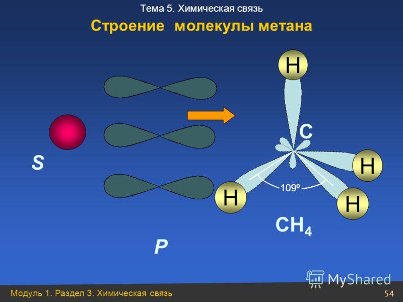 Модуль 1. Раздел 3. Химическая связь 54 Тема 5. Химическая связь S P H C CH 4 H H H 109º Строение молекулы метана