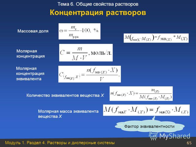 Модуль 1. Раздел 4. Растворы и дисперсные системы 65 Тема 6. Общие свойства растворов Массовая доля Молярная концентрация Количество эквивалентов вещества Х Молярная масса эквивалента вещества Х Фактор эквивалентности Концентрация растворов Молярная