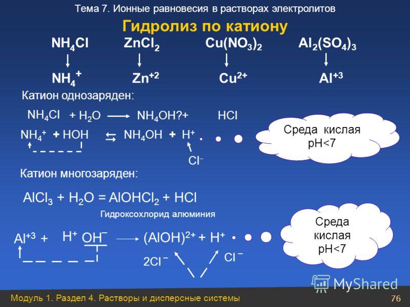 Модуль 1. Раздел 4. Растворы и дисперсные системы 76 Тема 7. Ионные равновесия в растворах электролитов NH 4 Cl NH 4 + ZnCl 2 Zn +2 Cu(NO 3 ) 2 Cu 2+ Al 2 (SO 4 ) 3 Al +3 + Н 2 O NН 4 Cl +HOHNH 4 OH+H+H+ Cl NH 4 OH?+HCl NH 4 + Среда кислая pH